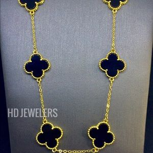 Jewelry - Black S925 Silver 10 Leaf Clover 18K Gold Necklace